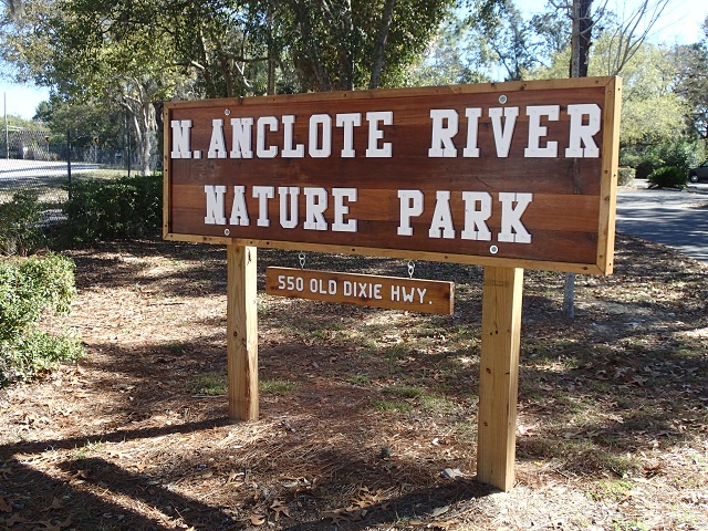 Entrance sign for N. Anclote River Nature Park