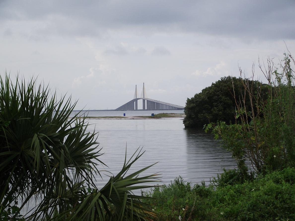 Skyway trail distant view of sunshine skyway bridge for Skyway fishing pier state park
