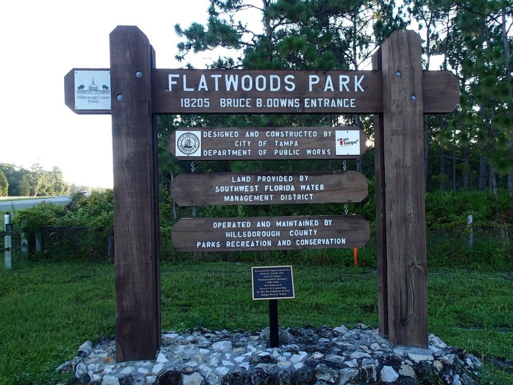 Flatwoods Park Trail Bruce B Downs Entrance Sign