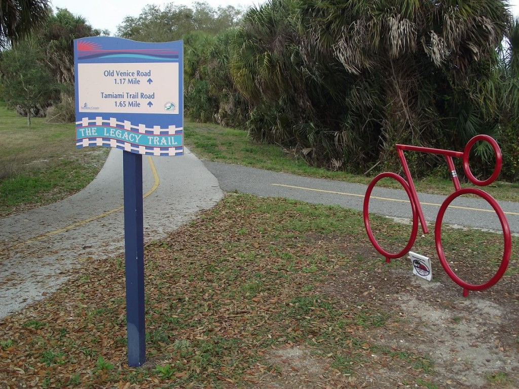 Legacy Trail - Bike Sculpture & Direction Signs